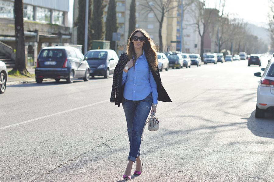 coccinelle mini bag, sergio rossi shoes, gina tricot blazer, polo ralph lauren shirt, elisa taviti, essere fashion, my fantabulousworld, blogger italiane, fashion blogger, diesel jeans