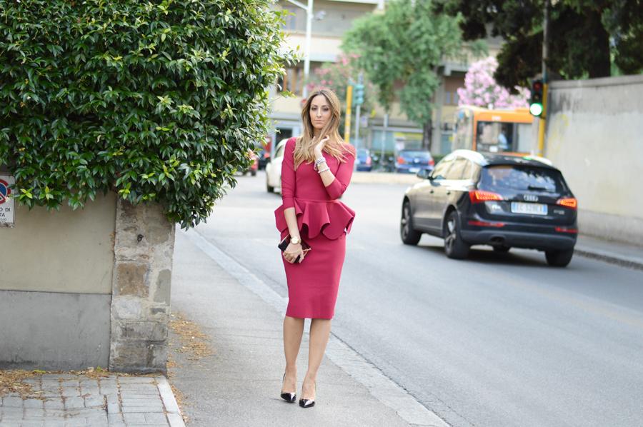 Party Dress, Red Dress, Peplum Dress
