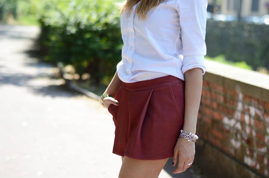 White Shirt and Burgundy Shorts