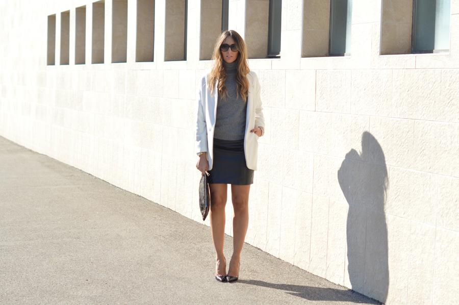 White Coat - Grey Sweater - Black Skirt